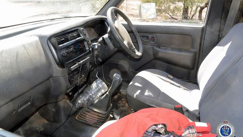 Inside the Mitsubishi Triton utility used in the robbery.