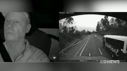 Dashcam footage has captured the chilling moment a minibus collided with a b-double last year. Picture: Supplied