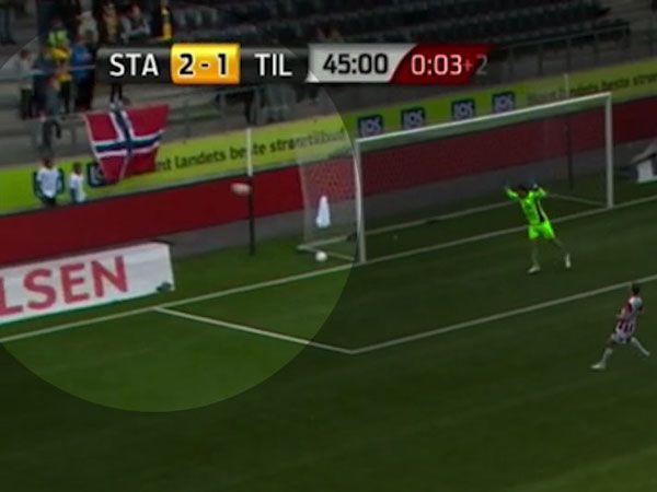 Ballboy felled by miscued goal shot
