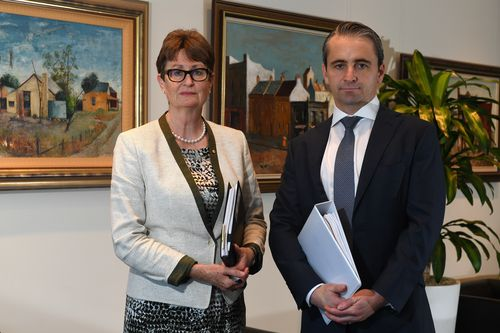 Commonwealth Bank of Australia chairperson Catherine Livingstone (left) with CEO Matt Comyn (right) pose for a portrait in Sydney today. Picture: AAP