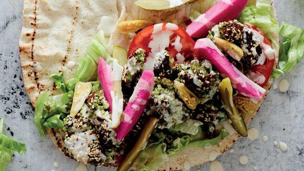 Egyptian falafel wrap