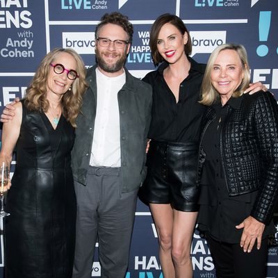 Seth Rogen and Charlize Theron and their respective mothers Sandy Rogen and Gerda Maritz