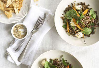 Warm roast carrot, lentil and labne salad
