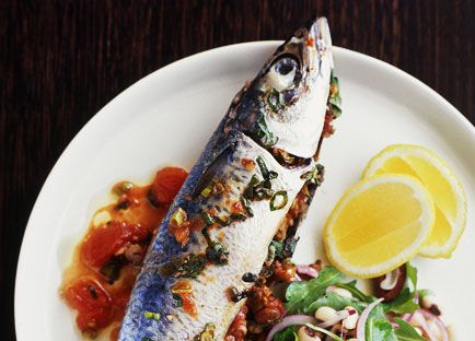Walnut-stuffed mackerel with rocket and black-eyed pea salad