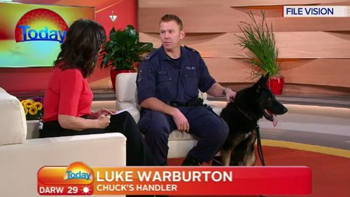 Senior Constable Luke Warburton and his police dog Chuck on the TODAY Show prior to the shooting. (TODAY)