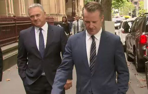 Justice Lasry said the report was an extremely serious breach of contempt laws, ordering Mitchell (left) and Channel 7 executives, including news director Simon Pristel (right). (9NEWS)