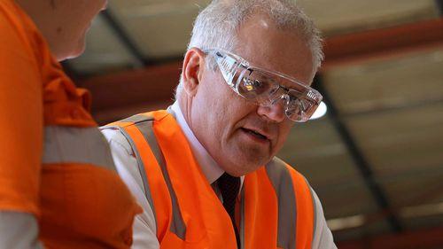 Prime Minister Scott Morrison at a BHP facility in Perth.