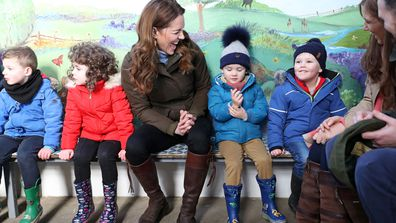 Kate Middleton Duchess of Cambridge with children from two local nurseries during a visit to The Ark Open Farm on February 12, 2020 in Newtownards, Northern Ireland.