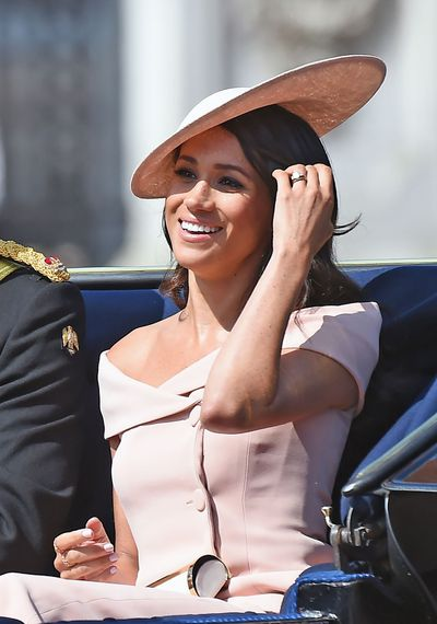 Duchess of Sussex in Carolina Herrera at the Trooping The Colour in London, June, 2018