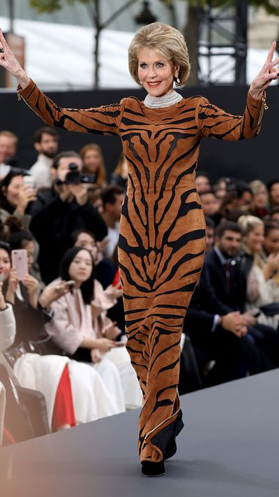 "<p>Jane Fonda grinned and sashayed down the catwalk in her tiger print Balmain dress - in fact, you'd never have known she got stage fright minutes before.</p> <p>""I'm really excited and nervous,"" The 79-year-old told <em><a href=""http://wwd.com/eye/parties/loreal-paris-holds-champs-elysees-beauty-fashion-show-11016052/"" draggable=""false"">Women's Wear Daily</a></em> backstage. ""I've walked a runway once for charity, but I've never done it [for] real. So I'm scared I'm going to fall down,"" she added.<br /> <br /> Fonda has been the face of L'Oréal Paris' Age Perfect skin-care line for years now. ""It was a big surprise for someone who never particularly was thought of as a fashionable person,"" she said.<br /> <br /> ""I think I'm the oldest living skin-care brand ambassador ever in history,""she added.</p>"
