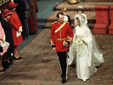 Princess Anne and Mark Phillips 1973 wedding
