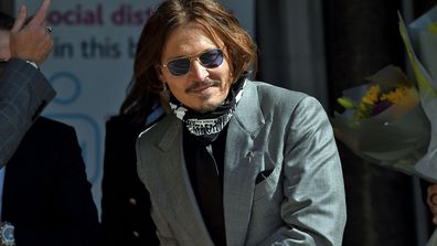 Johnny Depp arrives at the Royal Courts of Justice, the Strand on July 28, 2020 in London, England.