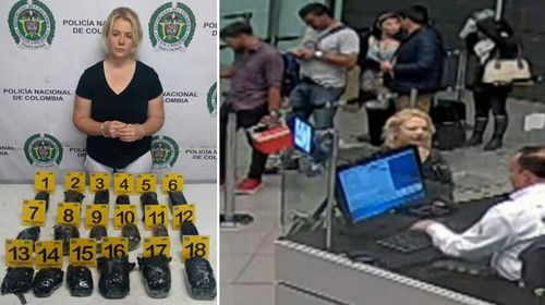 Cassie Sainsbury was allegedly caught with 5.8khg of cocaine. (9NEWS)