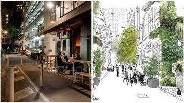 Green makeover: Four Melbourne laneways, including Meyers Place (pictured) are set to be transformed under a new city project. (City of Melbourne)