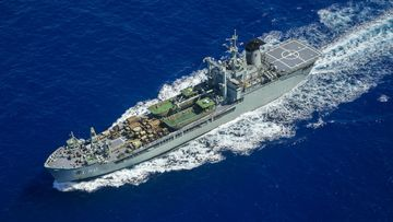 HMAS Tobruk, navigates her way to Vanuatu, to commence the ships involvement in Operation Pacific Assist 2015. Picture: AAP