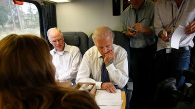 Biden mingles with passengers on the train