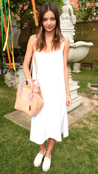 <p>Miranda Kerr in Stella McCartney at Stella McCartney's Resort 2016 presentation.</p>