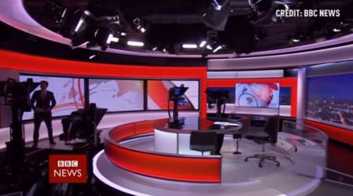 The newsman starts off confused about where he is meant to be. (BBC)