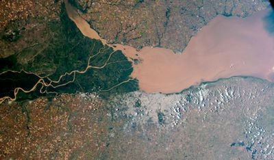 Argentina's muddy Panama River and nearby green swamps. Image taken April 6.
