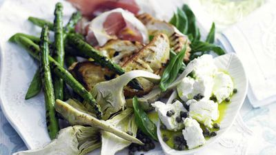 """Create a perfect picking plate for hot weather with our <a href=""""http://kitchen.nine.com.au/2016/05/17/10/00/prosciutto-and-artichoke-salad-with-croutes"""" target=""""_top"""">prosciutto and artichoke salad with croutes</a> recipe"""