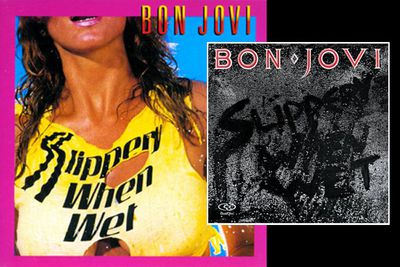 Bon Jovi's boobtastic cover was rejected in favour of the far more feminist-friendly art on the right.