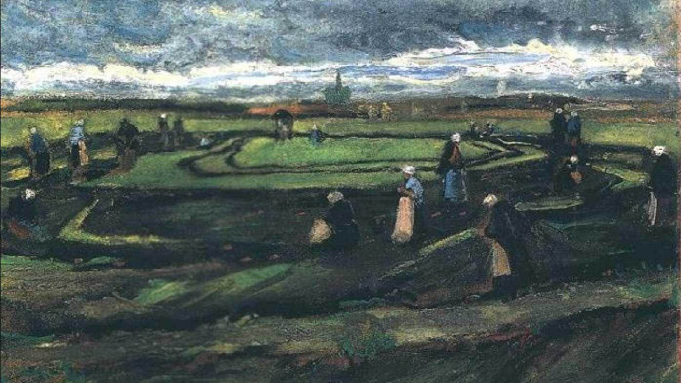 Women Mending Nets in the Dunes by Vincent Van Gogh.