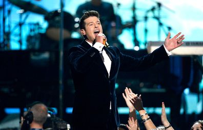 Robin Thicke onstage during the 56th GRAMMY Awards at Staples Center on January 26, 2014 in Los Angeles, California.