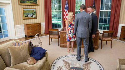 Meeting the President in the Oval Office is one of the greatest things the average American can aspire to, but tell that to this restless boy. A photo from the White House Flickr account shows the son of a long-term Secret Service agent face-planting on one of the Oval Office couches as his parents talk to President Obama. But he's not the first kid to get restless in the White House. Click through to see the best of children acting up in the Oval Office. (Flickr/White House)