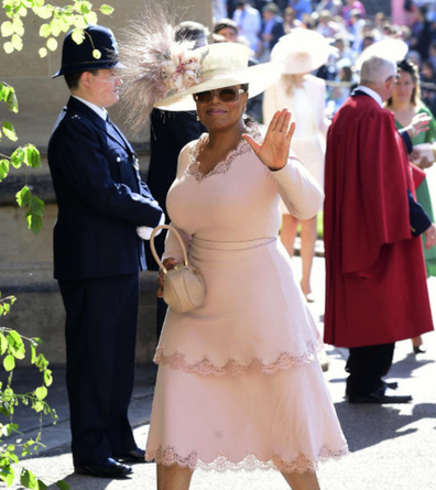 Oprah attends the Royal Wedding in 2018.