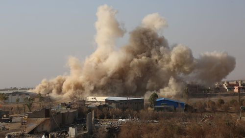Smoke rises after US-led coalition's airstrike over east of Bashiqa town in Mosul, Iraq, on November 7, 2016.