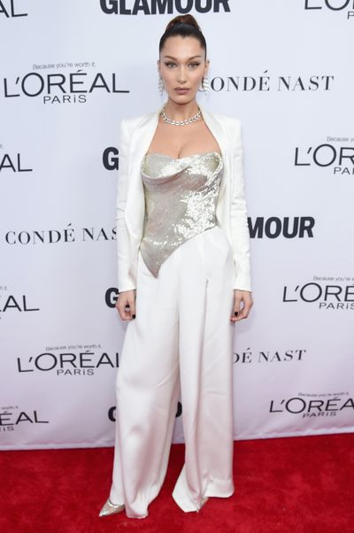 Bella Hadid in Cristina Ottaviano at the Glamour Women of the Year Awards, November 13.