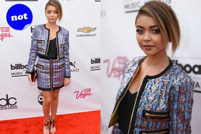 Is that a twin set we spy on the red carpet? Tut, tut Sarah Hyland.