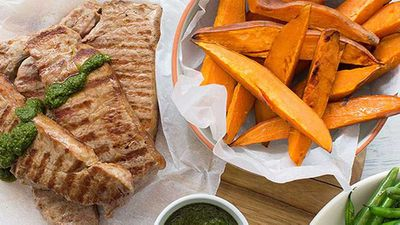 Nadia Lim's chimichurri steak with sweet potato wedges
