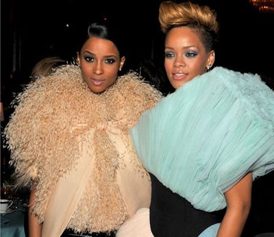 """Hanging with Ciara. """"Oops, we almost wore the same taffeta puffy thing!"""""""