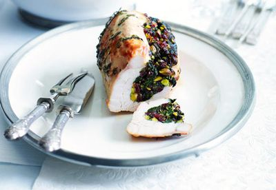 Roast turkey breast with cranberry and pistachio stuffing