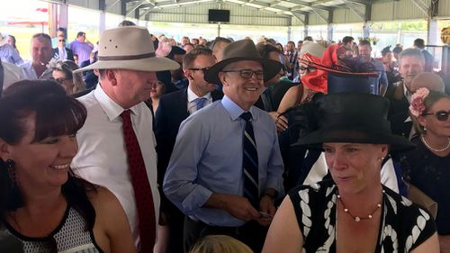 Barnaby Joyce and Malcolm Turnbull enjoy the racing festivities in Tamworth today. (Charles Croucher)