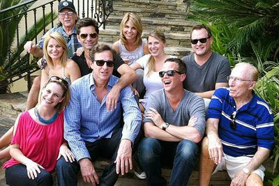 "The cast reunited for the show's 25th year anniversary in April 2012. ""Love my <i>Full House</i> family. Full heart,"" tweeted Andrea Barber (Kimmy/Gibbler). No Olsen twins though!<br/><br/>Back row: Candace Cameron Bure (DJ), John Stamos (Jesse), Lori Loughlin (Becky). Front row: Andrea Barber (Kimmy), Bob Saget (Danny), Jodie Sweetin (Stephanie), Dave Coulier (Joey) and Scott Weinger (Steve)."