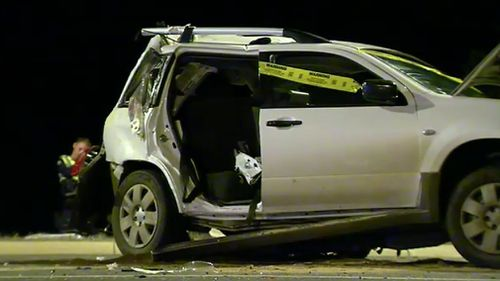 A family of four, travelling in the Mitsubishi, were all taken to hospital. (9NEWS)