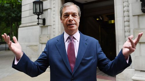 Brexit Party leader Nigel Farage enjoys his party's success