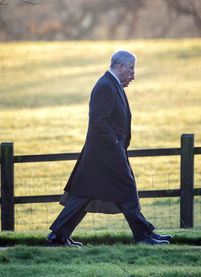 The Prince of Wales and the Duke of York arriving to attend a church service at St Mary Magdalene Church in Sandringham, Norfolk.