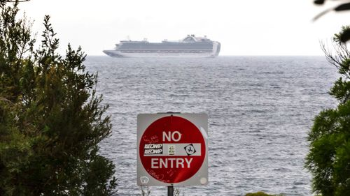 The Ruby Princess cruise chip is floating off the coast of Sydney.