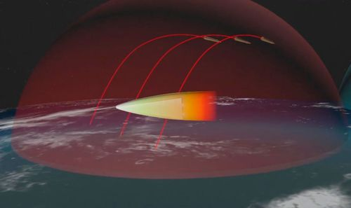 A computer simulation of the Russian Avangard gliding hypersonic warhead maneuvering to bypass defence systems.