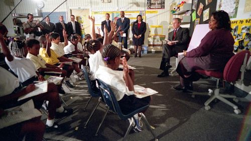 On the morning of September 11, as a plane hit the second tower of the World Trade Center, US president George W. Bush was reading a story to a classroom of second-graders at Emma E. Booker Elementary School in Sarasota, Florida