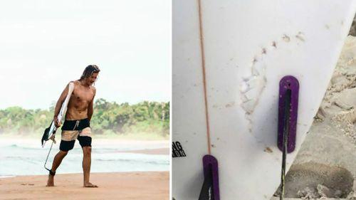 Sam Morgan (left) and his damaged board (right). (9NEWS)
