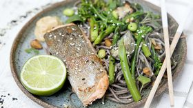Salmon and gluten free soba noodles