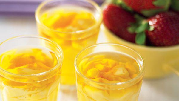 Brandy custard shots and berries