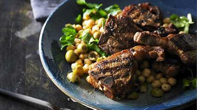 "Recipe: <a href=""http://kitchen.nine.com.au/2016/05/05/10/54/smoked-paprika-lamb-loin-chops-with-chick-pea-and-green-olive-salad"" target=""_top"">Smoked paprika lamb loin chops with chick pea and green olive salad</a>"