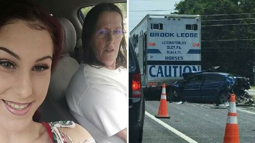 Shiyanne Kroll, 18, (left) was driving with her mother Sandra Clarkson (right in left image) in the passenger seat when they were hit (right). (Supplied)