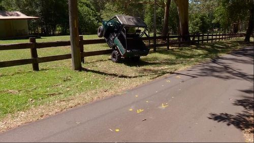 The young girl was flown to a Sydney hospital with head and chest injuries after the driver lost control and smashed the ATV into a fence.