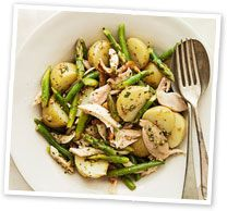 Smoked chicken, potato and asparagus salad